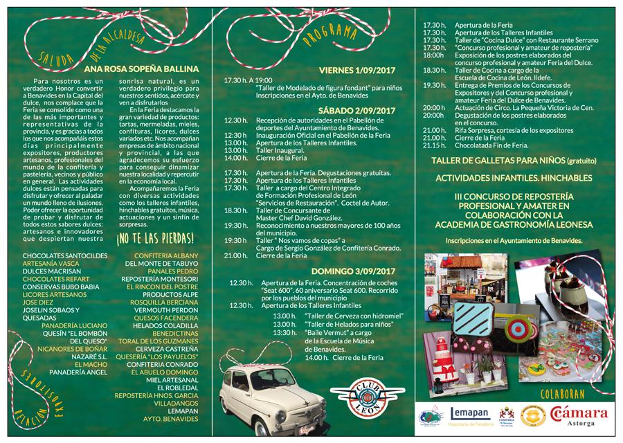 Programa de la Feria del dulce de Dulce de Benavides 2017